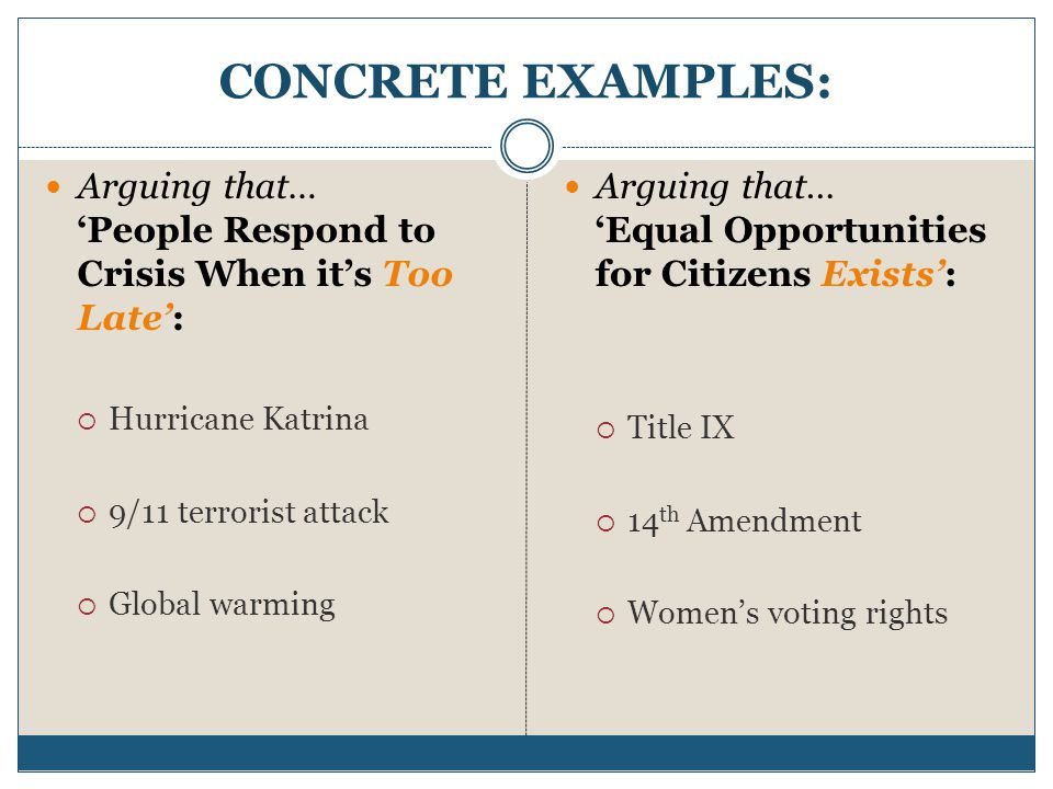 CONCRETE EXAMPLES: Arguing that… 'People Respond to Crisis When it's Too Late': Hurricane Katrina.