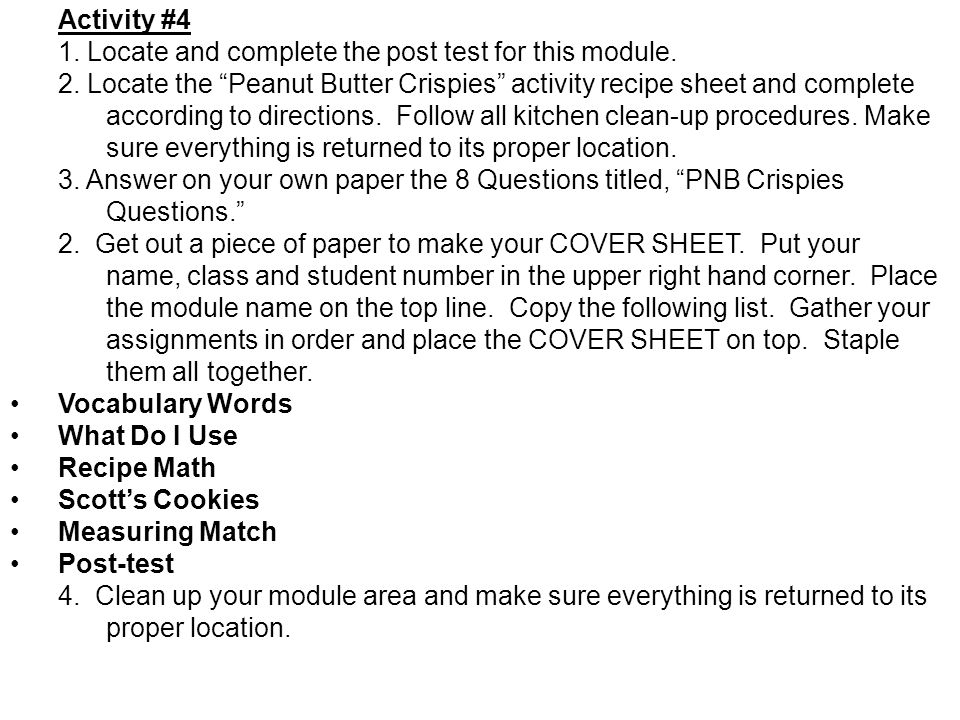 1. Locate and complete the post test for this module.