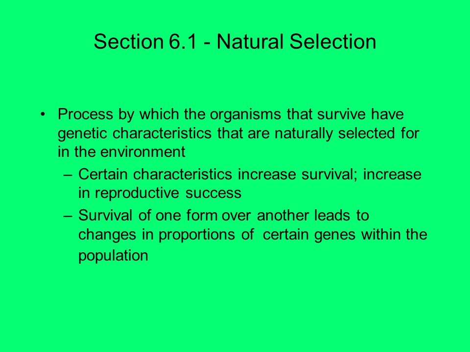 Section 6.1 - Natural Selection