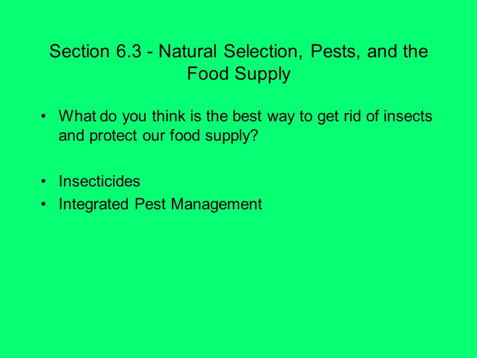 Section Natural Selection, Pests, and the Food Supply