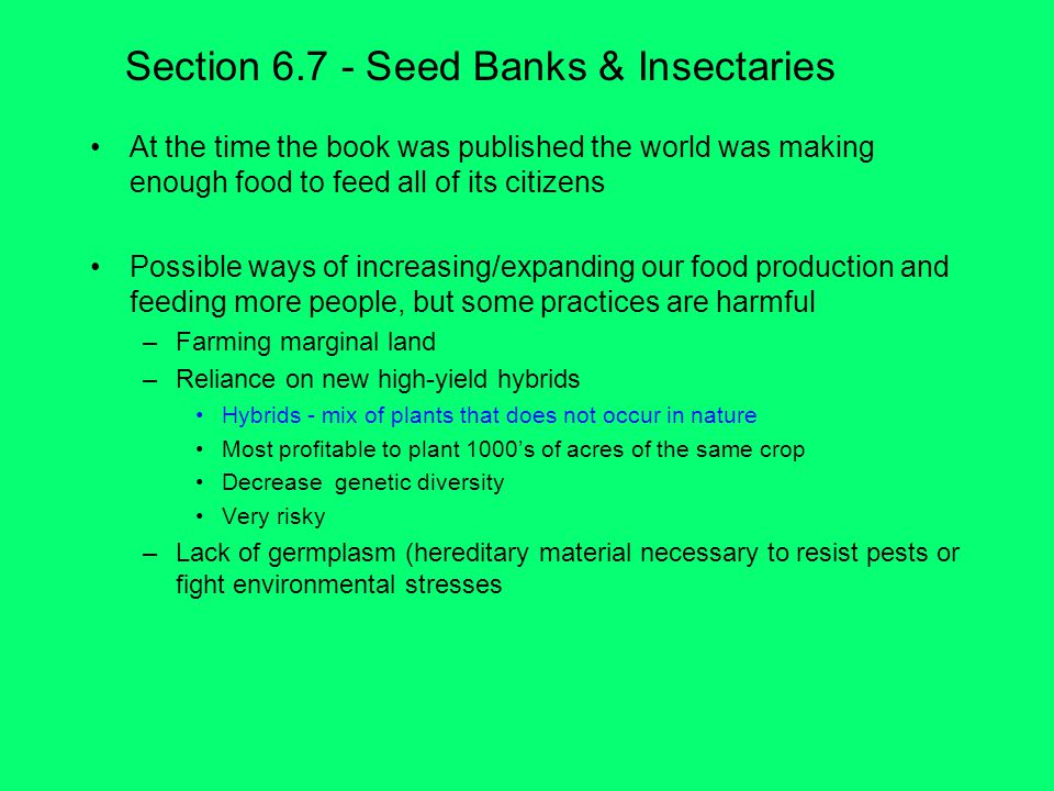 Section Seed Banks & Insectaries