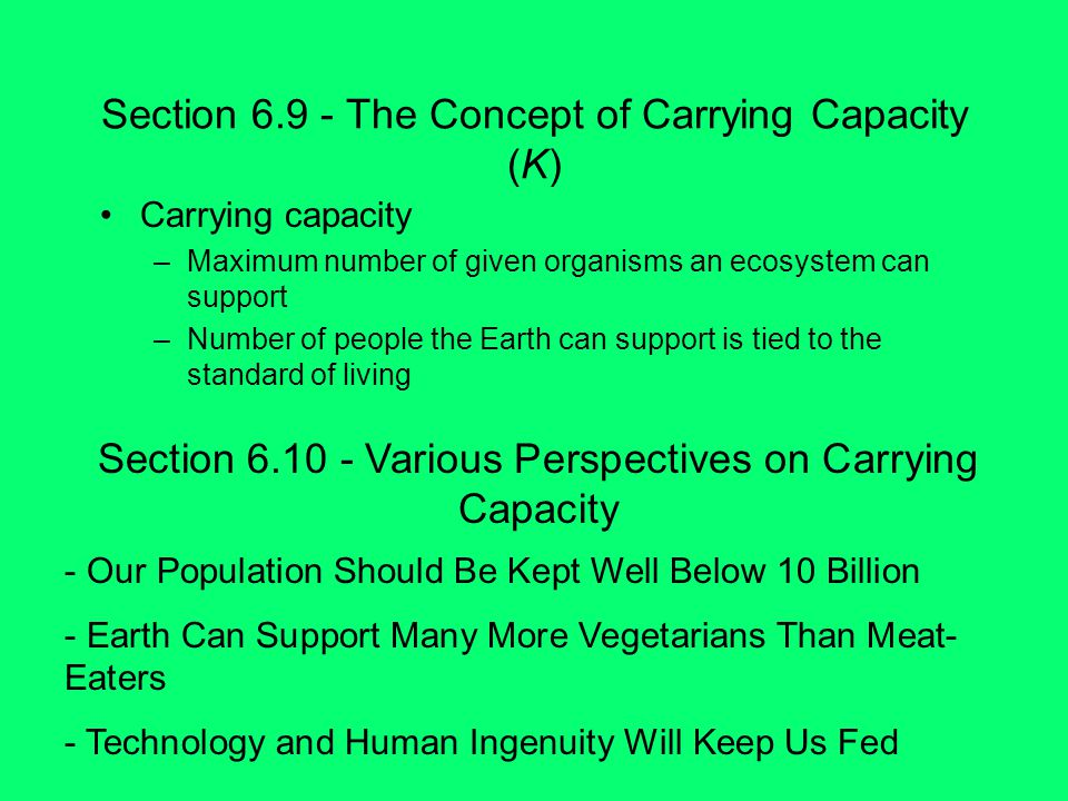 Section The Concept of Carrying Capacity (K)