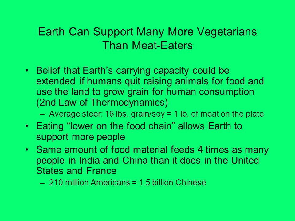 Earth Can Support Many More Vegetarians Than Meat-Eaters