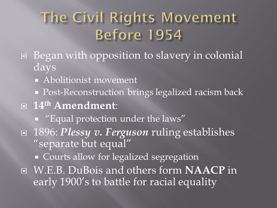 The Civil Rights Movement Before 1954