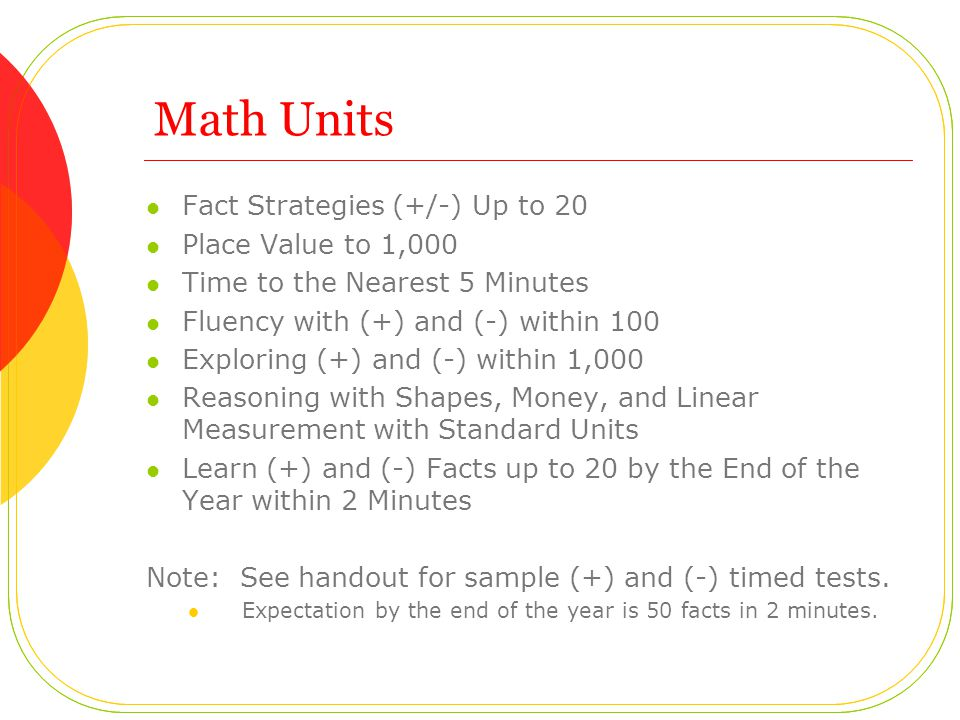 Math Units Fact Strategies (+/-) Up to 20 Place Value to 1,000
