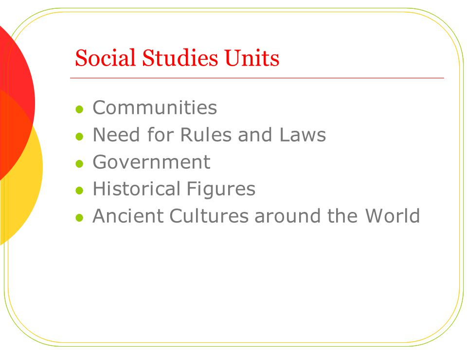 Social Studies Units Communities Need for Rules and Laws Government