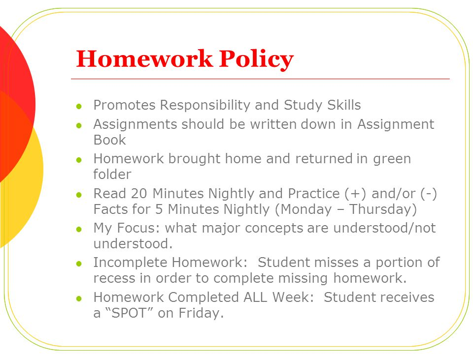 Homework Policy Promotes Responsibility and Study Skills