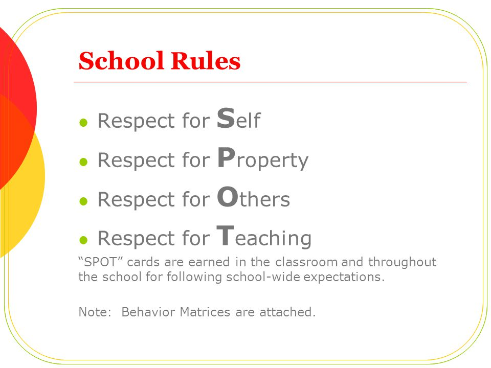 School Rules Respect for Self Respect for Property Respect for Others
