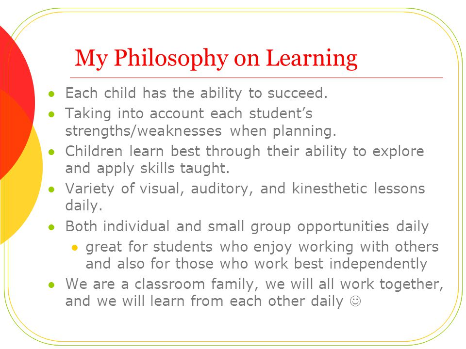 My Philosophy on Learning