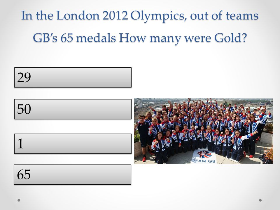 In the London 2012 Olympics, out of teams GB's 65 medals How many were Gold