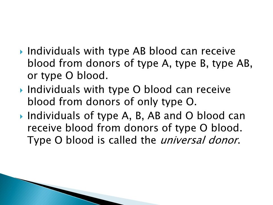 Individuals with type AB blood can receive blood from donors of type A, type B, type AB, or type O blood.