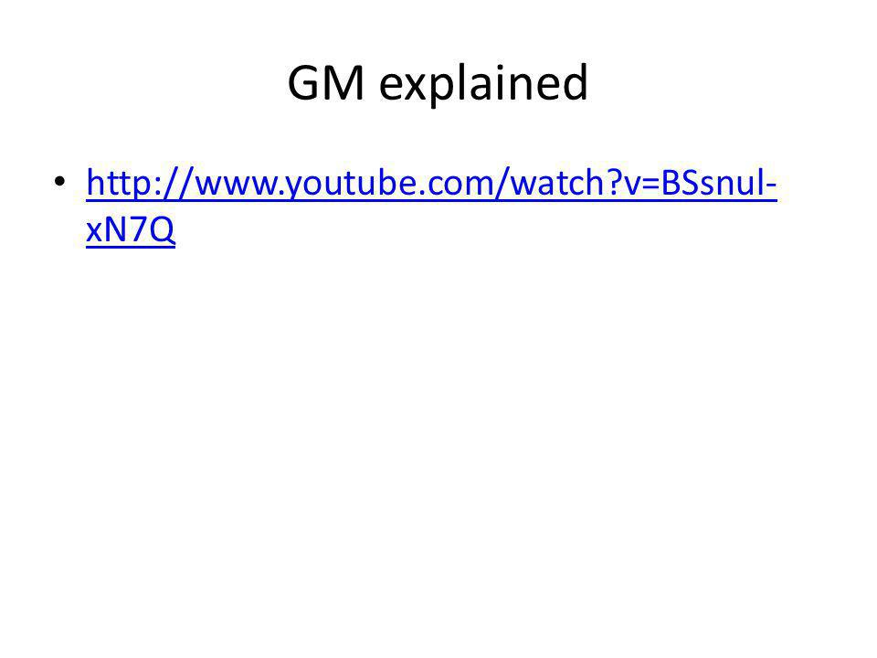 GM explained http://www.youtube.com/watch v=BSsnul-xN7Q