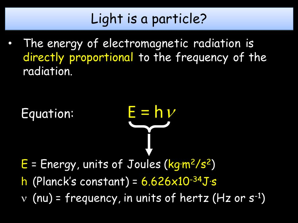 Light is a particle Equation: E = h
