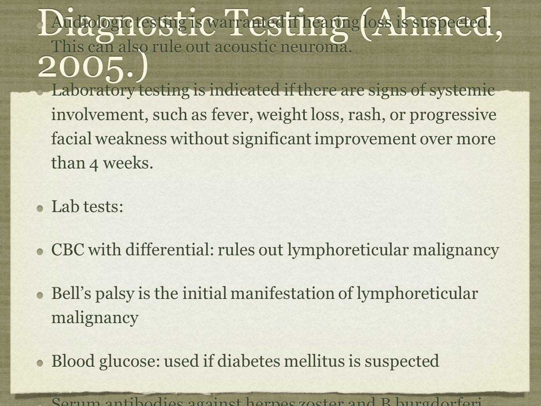 Diagnostic Testing (Ahmed, 2005.)