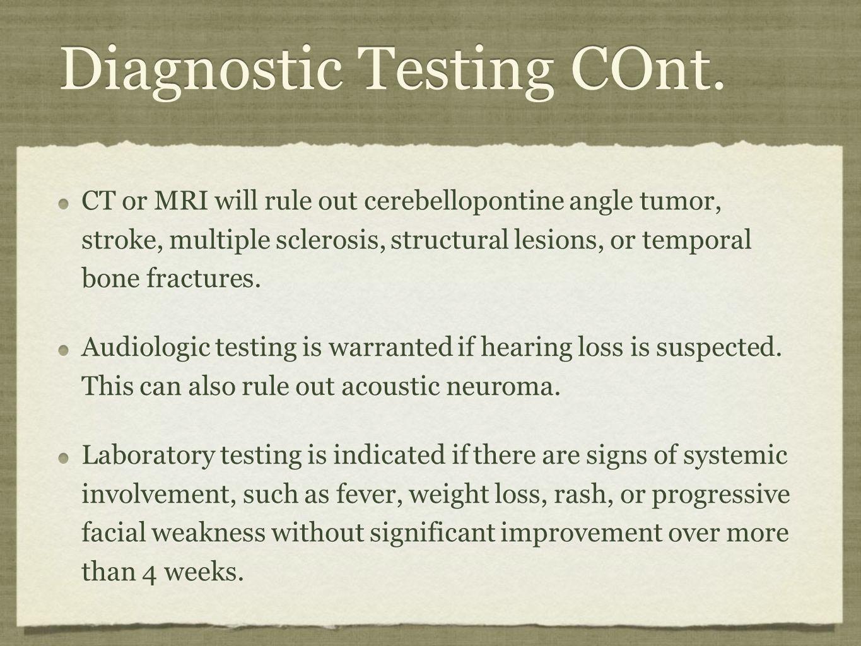 Diagnostic Testing COnt.
