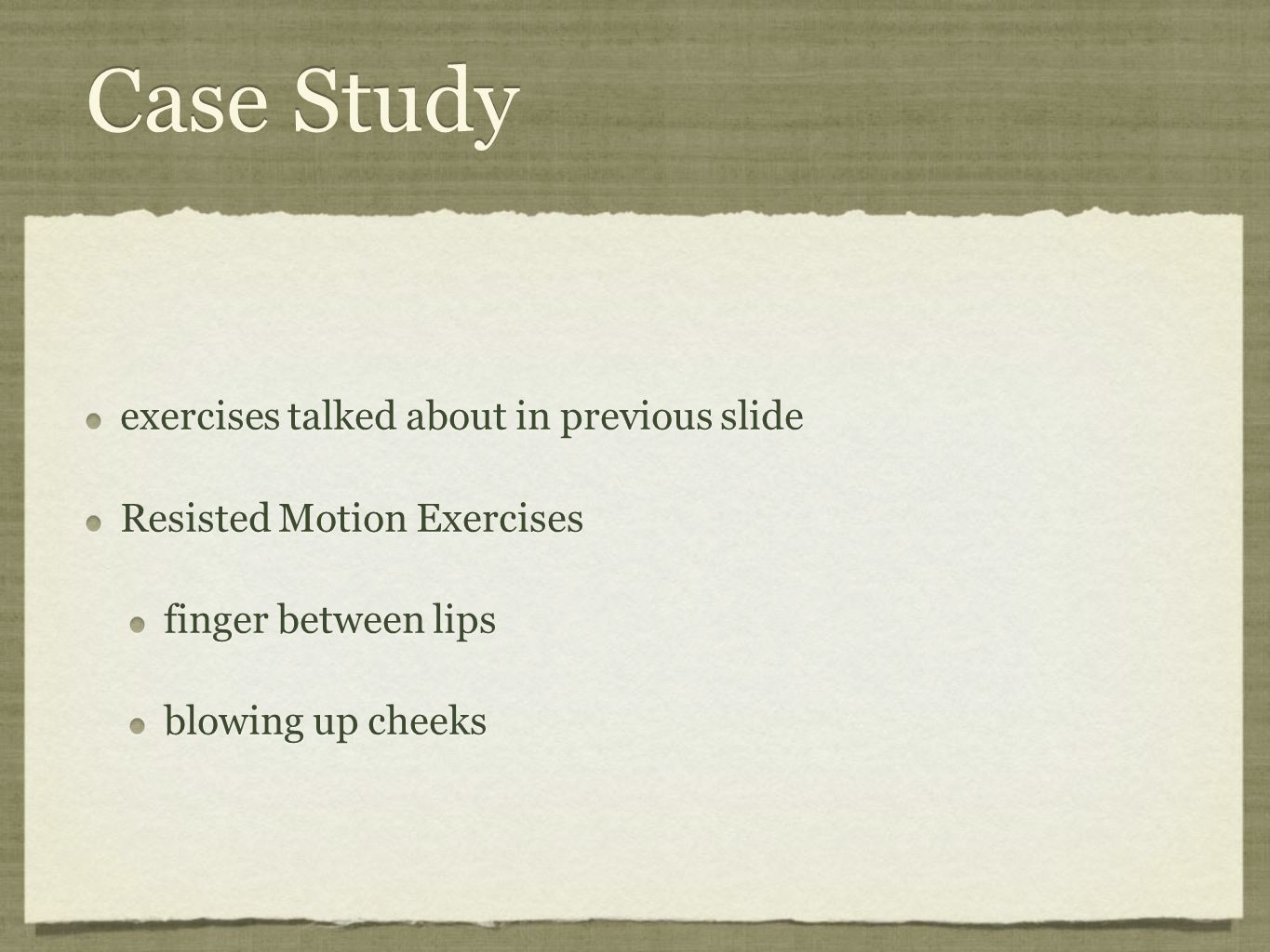 Case Study exercises talked about in previous slide