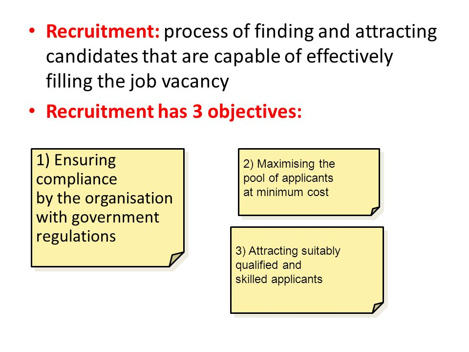 Recruitment has 3 objectives: