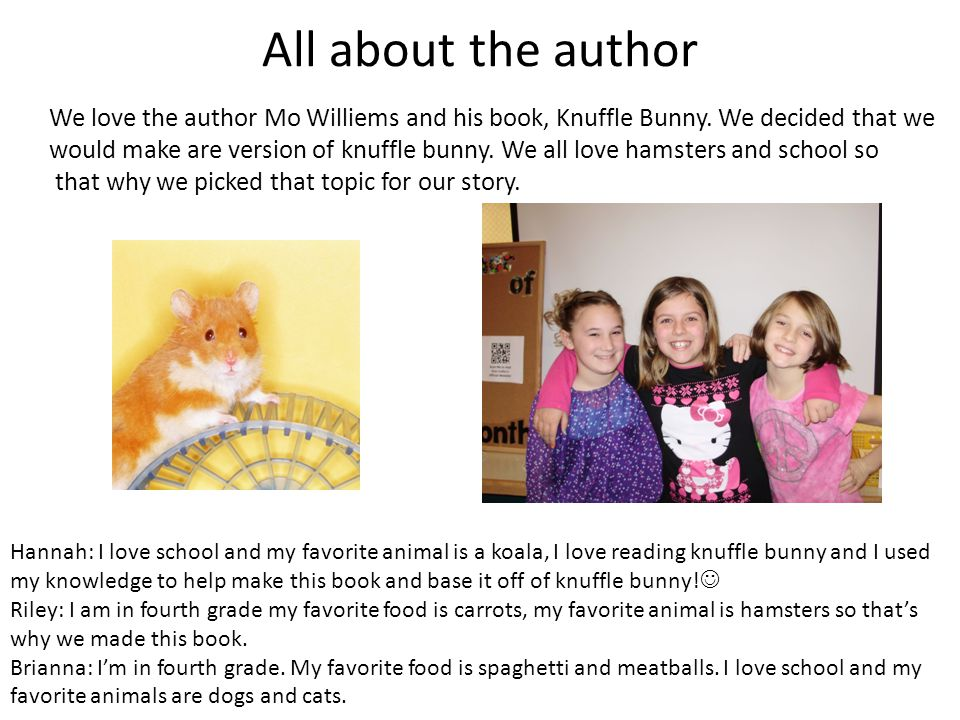 All about the author We love the author Mo Williems and his book, Knuffle Bunny. We decided that we.