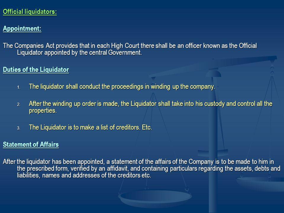 Official liquidators:
