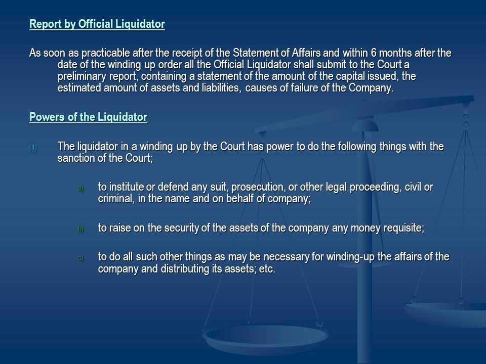 Report by Official Liquidator