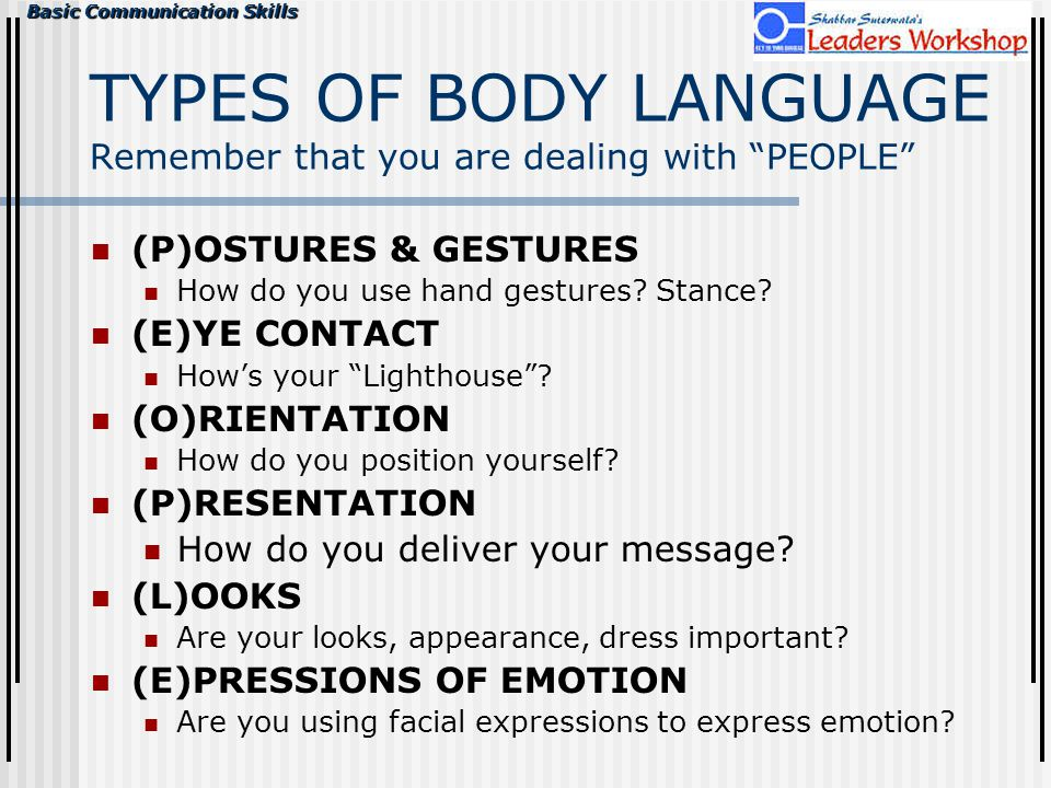TYPES OF BODY LANGUAGE Remember that you are dealing with PEOPLE