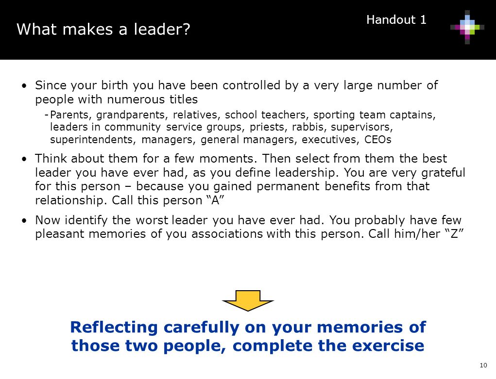 What makes a leader Handout 1. Since your birth you have been controlled by a very large number of people with numerous titles.