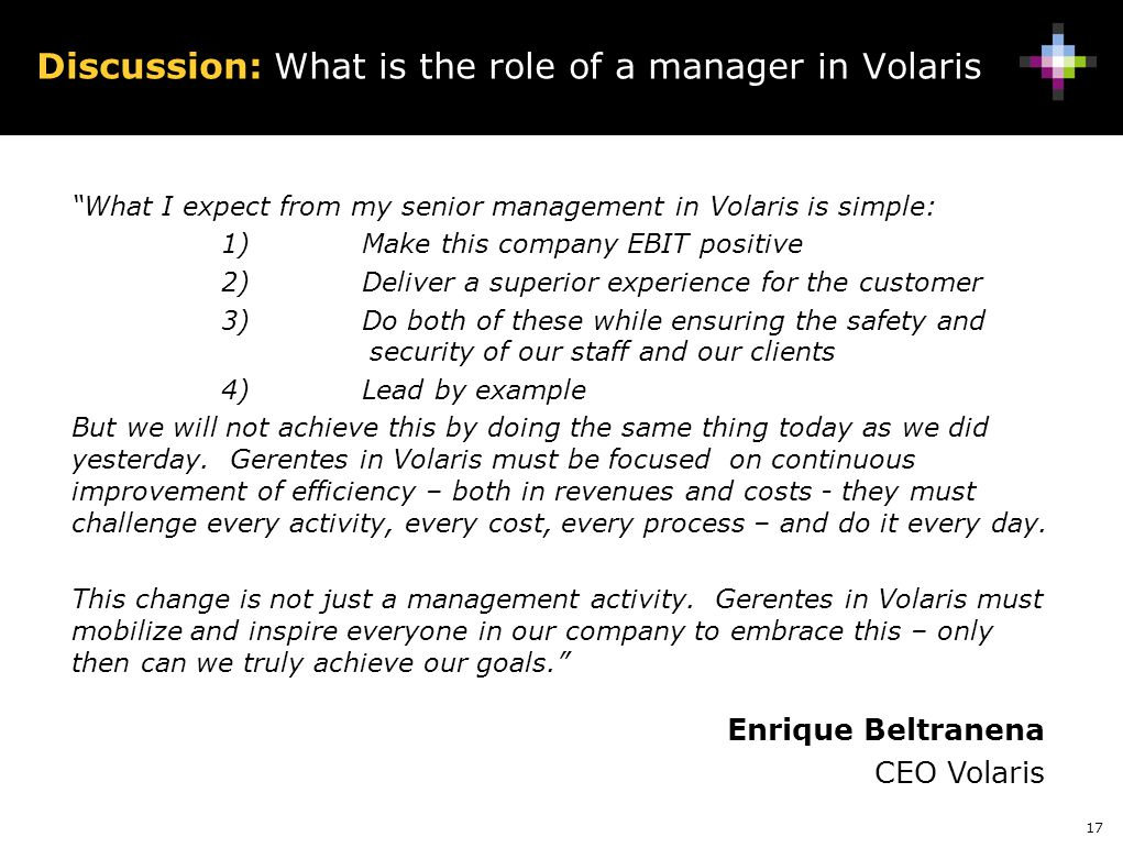 Discussion: What is the role of a manager in Volaris