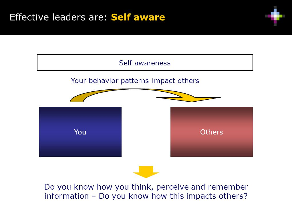Effective leaders are: Self aware