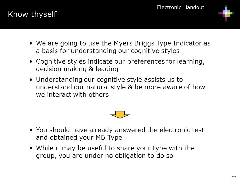Know thyself Electronic Handout 1. We are going to use the Myers Briggs Type Indicator as a basis for understanding our cognitive styles.