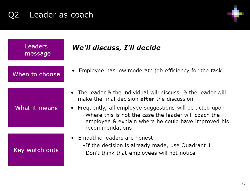 Q2 – Leader as coach We'll discuss, I'll decide Leaders message