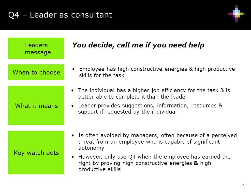 Q4 – Leader as consultant