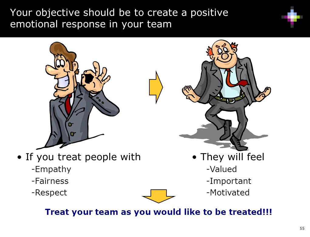 Treat your team as you would like to be treated!!!