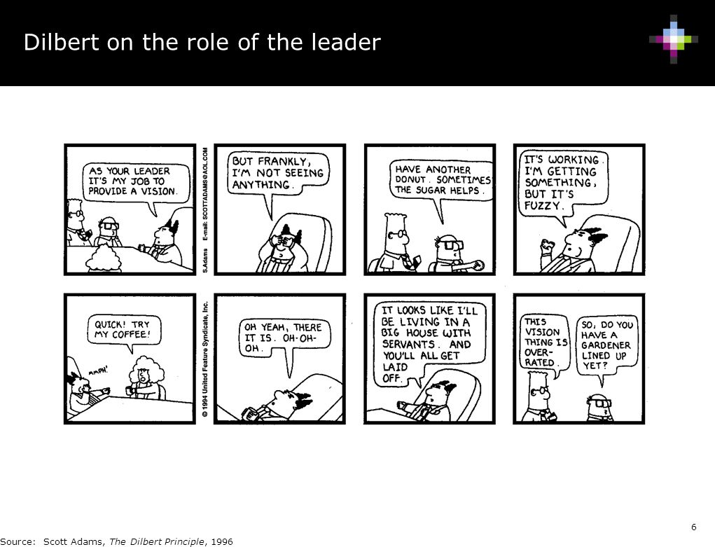 Dilbert on the role of the leader