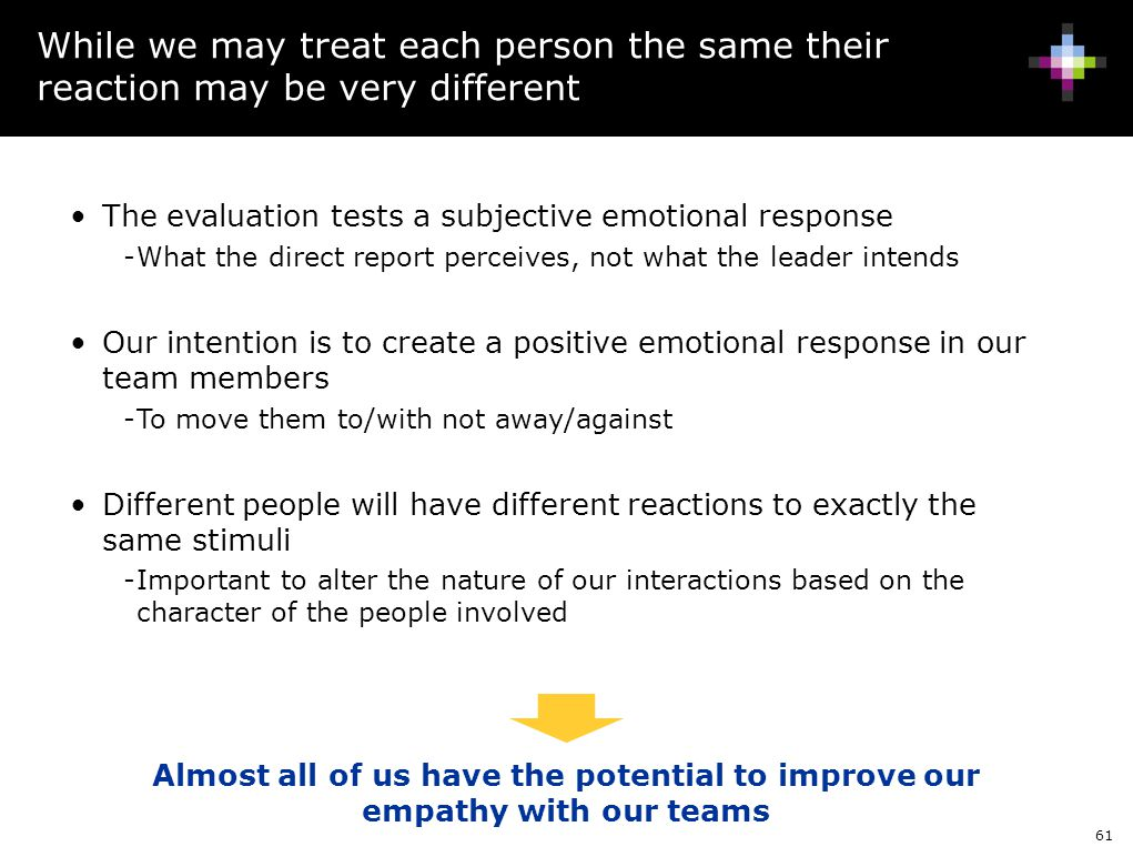 While we may treat each person the same their reaction may be very different