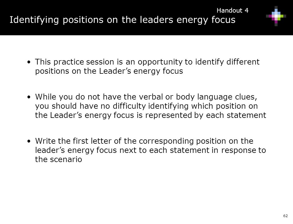 Identifying positions on the leaders energy focus