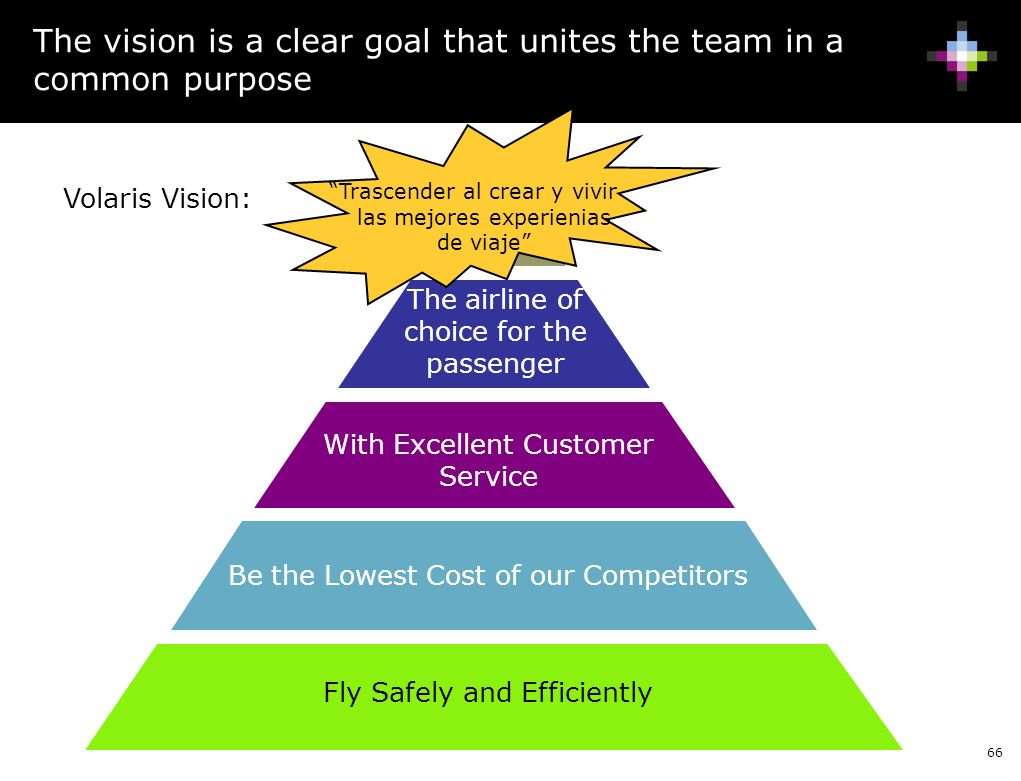 The vision is a clear goal that unites the team in a common purpose