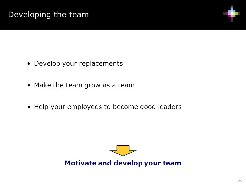 Motivate and develop your team