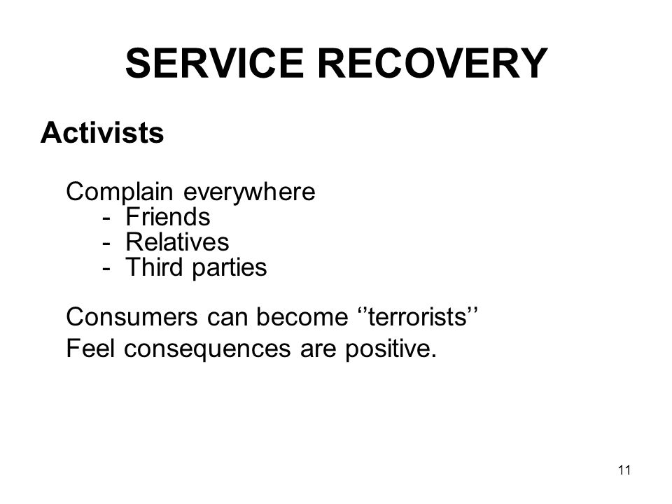 SERVICE RECOVERY Activists