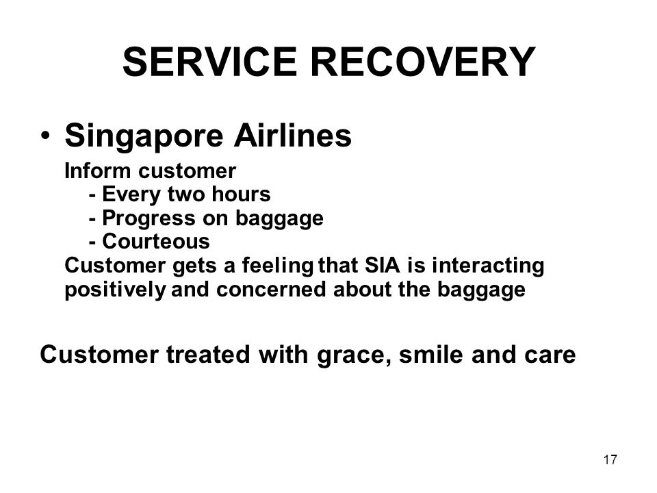 SERVICE RECOVERY Singapore Airlines