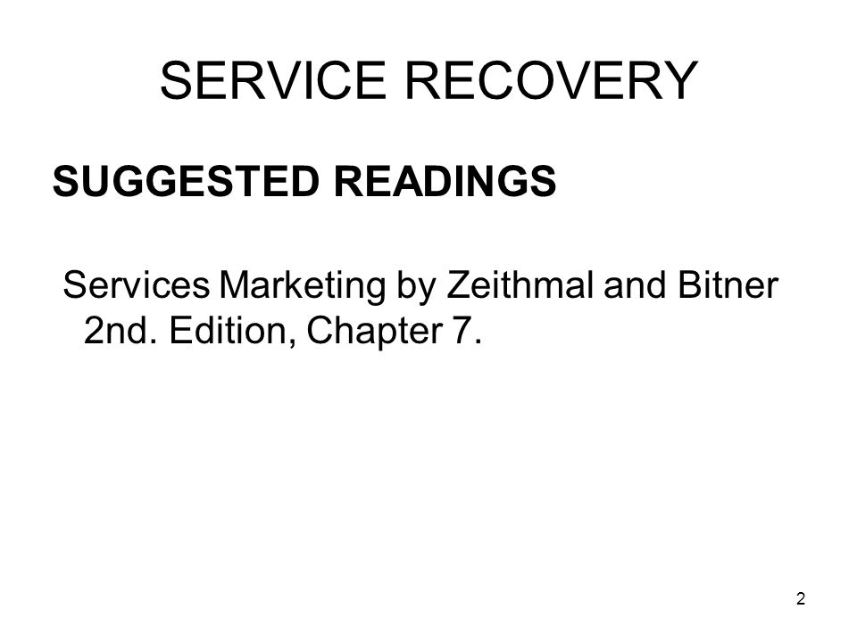 SERVICE RECOVERY SUGGESTED READINGS