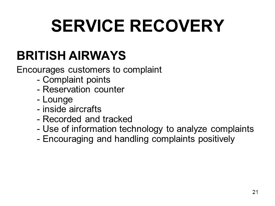 SERVICE RECOVERY BRITISH AIRWAYS
