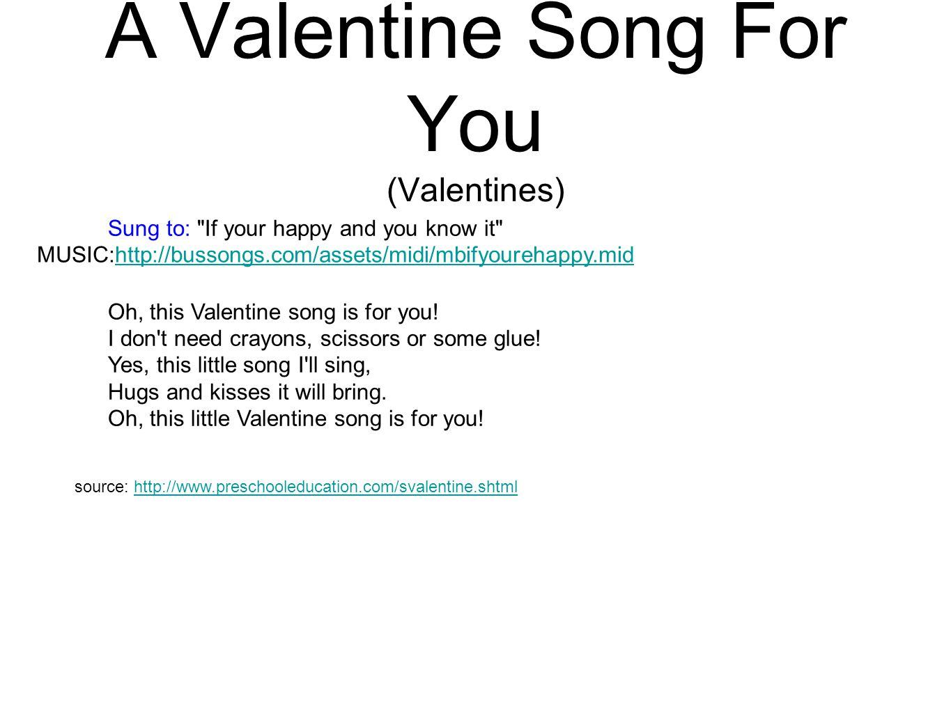 A Valentine Song For You (Valentines)