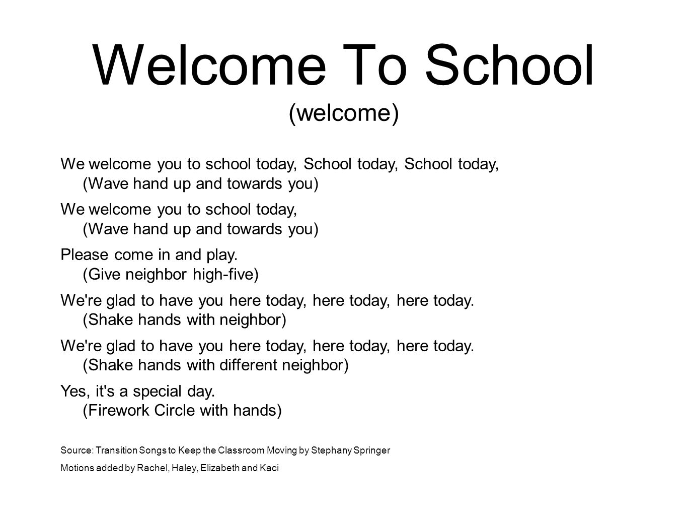 Welcome To School (welcome)