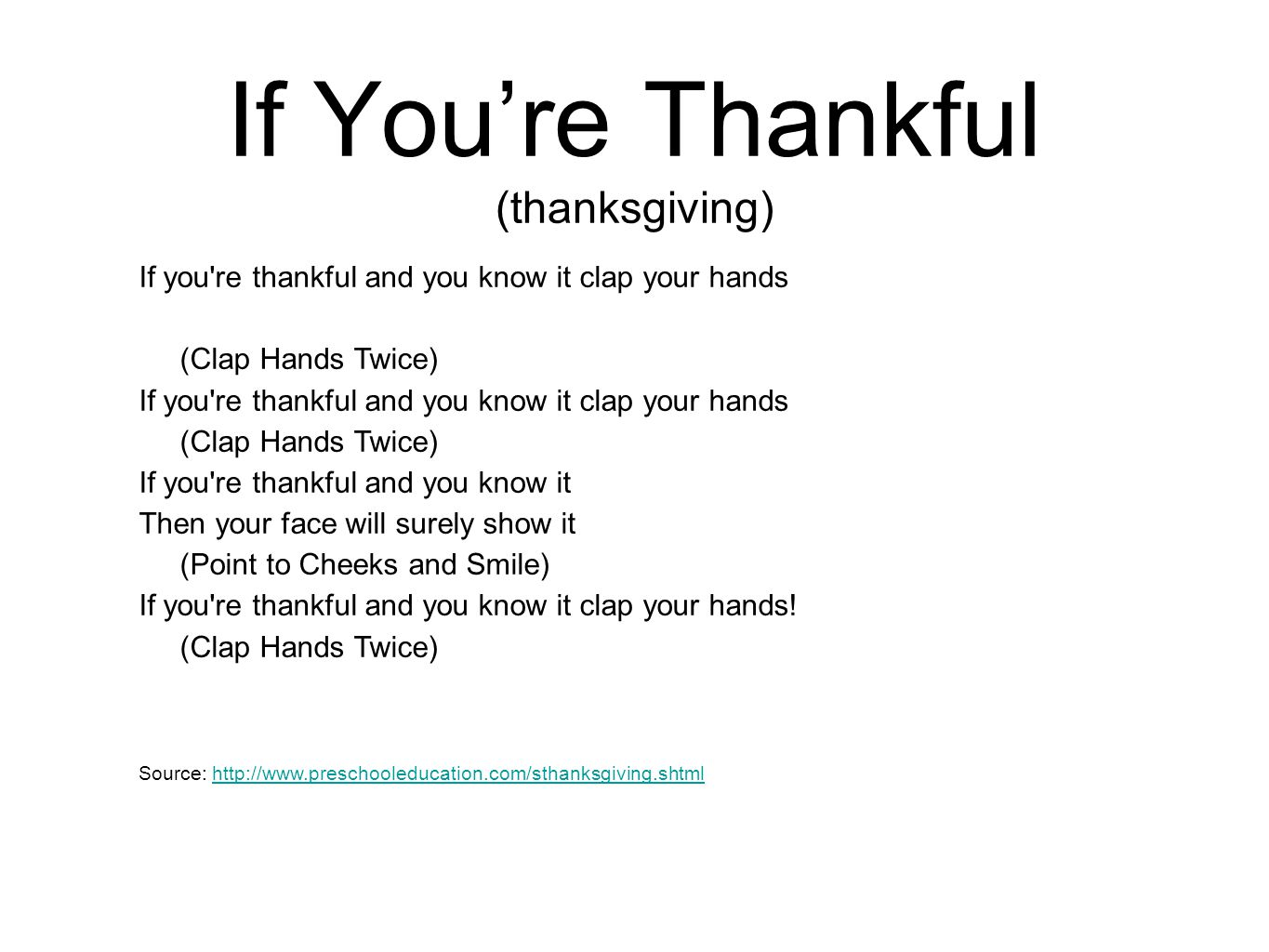 If You're Thankful (thanksgiving)