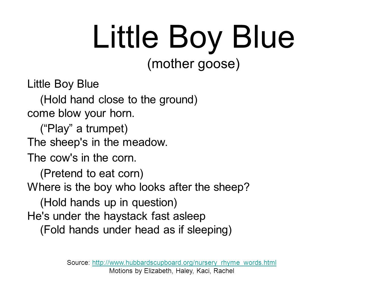 Little Boy Blue (mother goose)
