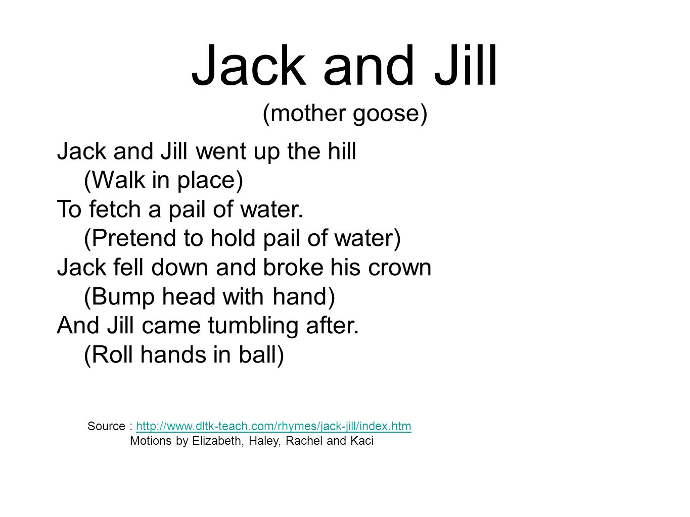 Jack and Jill (mother goose)