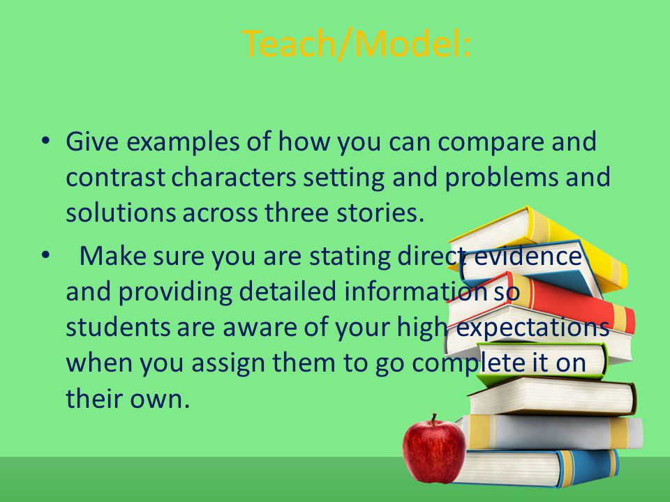 Teach/Model: Give examples of how you can compare and contrast characters setting and problems and solutions across three stories.
