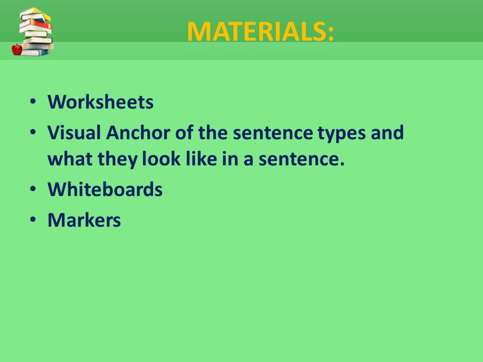 MATERIALS: Worksheets