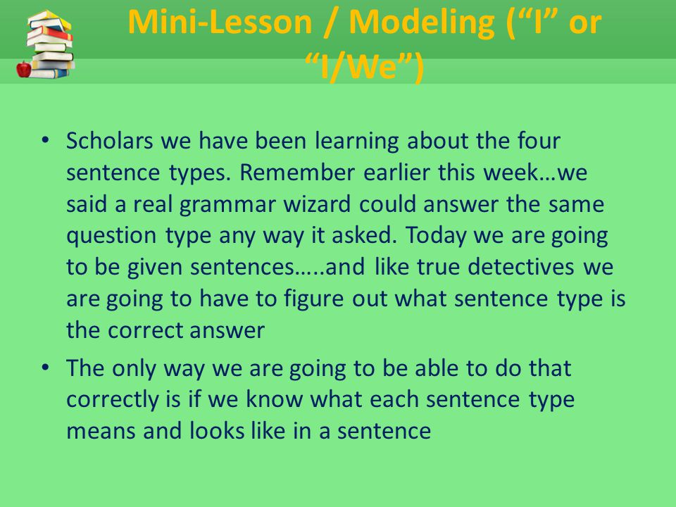 Mini-Lesson / Modeling ( I or I/We )