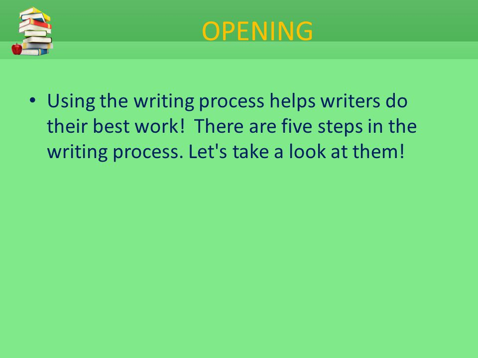 OPENING Using the writing process helps writers do their best work! There are five steps in the writing process. Let s take a look at them!